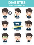 Infographics som visar tecknen av folk med sockersjuka vektor illustrationer