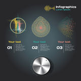 Infographics with sound waves on a dark background Stock Image