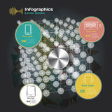 Infographics with sound waves on a dark background Royalty Free Stock Photography