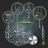 Infographics with sound waves on a dark background Stock Images