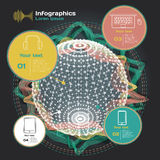 Infographics with sound waves on a dark background Royalty Free Stock Photos