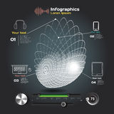 Infographics with sound waves on a dark background Royalty Free Stock Image