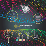 Infographics with sound waves on a dark background on theme Royalty Free Stock Images