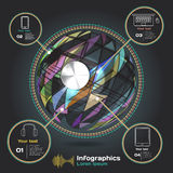 Infographics with sound waves on a dark background on theme Royalty Free Stock Photography