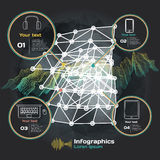 infographics with sound waves on a dark background on theme Royalty Free Stock Image