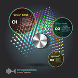 Infographics with sound waves on a dark background on theme Royalty Free Stock Photo
