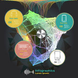 Infographics with sound waves on a dark background on theme Stock Photos