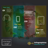 Infographics with sound waves and devices on a dark background Royalty Free Stock Photo