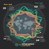 Infographics with sound waves on world's map Stock Images
