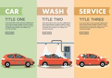 Infographics stages car wash vector illustration. Clipart. Flat style stock illustration