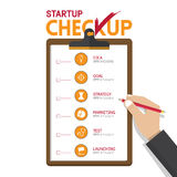 Infographics of startup business checkup in flat design. Hand holding clipboard. Vector Illustration stock illustration