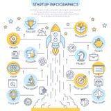 Infographics Startup na linha estilo lisa imagens de stock royalty free