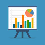 Infographics, statistics, data concept. Flat design. Isolated on color background Royalty Free Stock Images