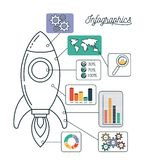 Infographics and statistics with spacecraft. Vector illustration Royalty Free Stock Photo