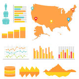 Infographics and statistics. With US map Stock Photography