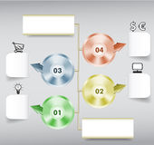 Infographics step by step template with paper notepads, metal discs, icons and arrows Stock Images