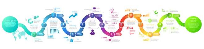 Infographics strzałkowatej linii czasu hystory szablon Zdjęcia Royalty Free