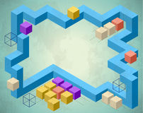 Infographics styled frame with cubes Royalty Free Stock Photo