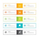 Infographics tab in horizontal thin line index with 10 data temp royalty free illustration