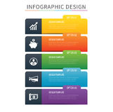 Infographics tab index 5 option template. Vector illustration ba. Ckground. Can be used for workflow layout, data, business step, banner, web design Royalty Free Stock Images