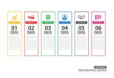 Infographics tab in vertical thin line index with 6 data templat stock illustration