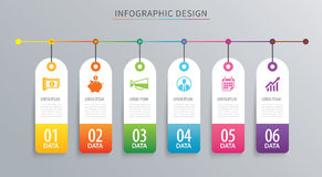 Infographics tag banner 6 option template. Vector illustration b Royalty Free Stock Photos