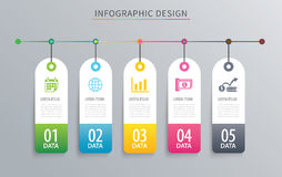 Infographics tag banner 5 option template. Vector illustration b Royalty Free Stock Photo
