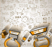 Infographics Teamwork with Business doodles Sketch background: Stock Image