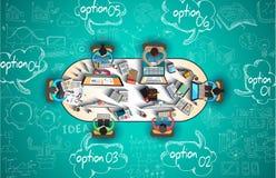 Infographics teamwork med affärsklotter skissar bakgrund: Arkivfoto