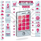 Infographics template, cell phone, smatphone options,vector illu. Stration Royalty Free Stock Photo