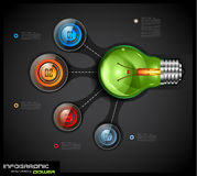 Infographics template with 4 choices layout connected to a Light Bulb. Conceptual design made to chose the best idea or item between 4 choice available Stock Photography