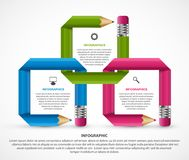 Infographics template with colored pencil in the form of ribbons. Vector illustration Stock Photos