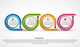 Infographics template with colored pencil in the form of ribbons. Vector illustration Stock Photo