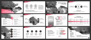 Infographics template design. An infographics template with pink elements on a white background Royalty Free Stock Image
