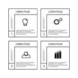 Business infographic template. Infographics template four options with square. Can be used for workflow layout, diagram, number options, step up options, web royalty free illustration