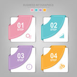 Infographics template of four steps on squares. Tag banner element, work sheet, flat design of business icon, pastel vector Stock Photo