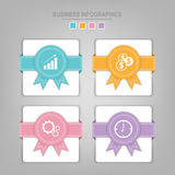 Infographics template of four steps on squares. Tag banner element, work sheet, flat design of business icon, pastel vector Stock Photos