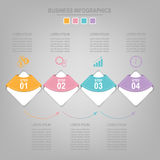 Infographics template of four steps on squares. Tag banner element, work sheet, flat design of business icon, pastel vector Royalty Free Stock Photos