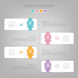 Infographics template of four steps on squares. Tag banner element, work sheet, flat design of business icon, pastel vector Stock Image