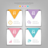Infographics template of four steps on squares. Tag banner element, work sheet, flat design of business icon, pastel vector Stock Images