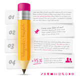 Infographics template with lead pencil and paper frames Royalty Free Stock Image