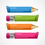 Infographics template. Pencil with colored ribbons. Infographics for business presentations or information banner. Vector illustration Royalty Free Stock Images