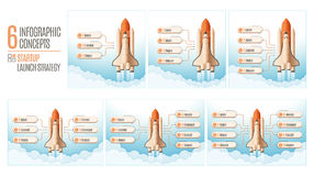 Infographics template set with structure elements of startup strategy. Rocket or space shuttle launch. Vector illustration royalty free illustration