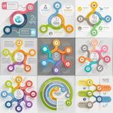 Infographics template set. Vector illustration. Can be used for workflow layout, banner, diagram, number options, web design, timeline elements stock illustration