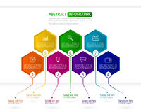 Infographics template with seven hexagon elements. Abstract. Colorful business hexagons with text and icons. Vector illustration eps 10 Royalty Free Stock Photography