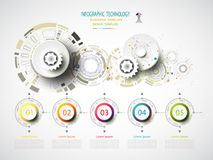 Infographics template technology gear wheel engineering on circu. It board, Vector illustration digital innovation design colorful on circuit board, Business Royalty Free Stock Photography