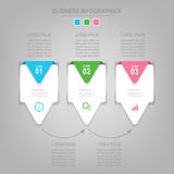 Infographics template of three steps on squares Stock Photography
