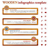 Infographics template with wooden and paper frames. Place for your icons and messages. Vector illustration royalty free illustration
