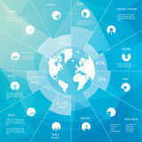 Infographics template with world map. Simple icons Stock Images
