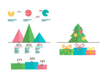 Infographics templates. Christmas tree, diagrams. Infographics templates with Christmas tree, diagrams, icons. Flat vector illustration Stock Illustration